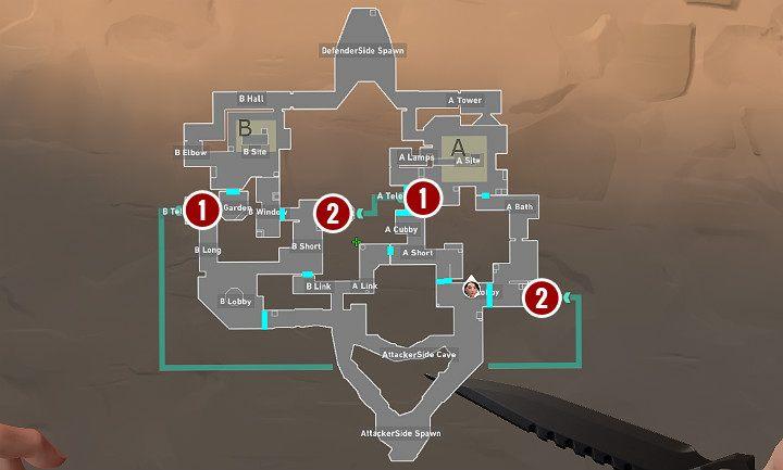 На изображении выше цифра 1 обозначает вход в порталы, а цифра 2 указывает выход - Valorant: Portals - карта, советы и хитрости - Basics - Valorant Guide