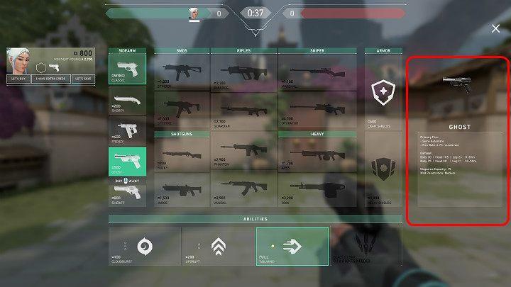 Например, пистолет Ghost наносит 105 урона выстрелом в голову на расстоянии от 0 до 30 метров - Valorant: Fight - как себя вести?  советы - Основы - Руководство Valorant