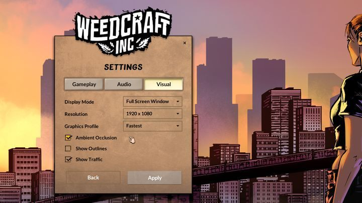 Graphics settings menu. - System Requirements of Weedcraft Inc - Appendix - Weedcraft Inc Guide