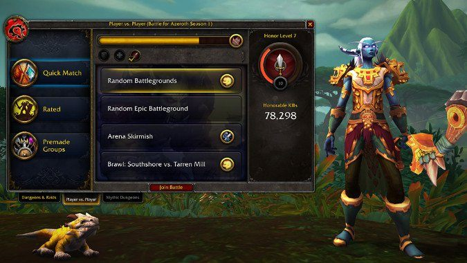 For reaching higher levels and ranks of honor, you will receive cosmetic awards, such as mounts, pets or titles - PvP, War Mode and PvP gear in WOW Battle for Azeroth - FAQ - World of Warcraft Battle for Azeroth Game Guide