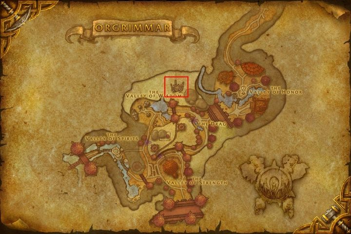 On this map of Ogrimmar, we have marked the portal to Uldim, which will help you in getting to Silithus. - How to get to Silithus and begin A Dying World quest in WOW Battle for Azeroth? - FAQ - World of Warcraft Battle for Azeroth Game Guide