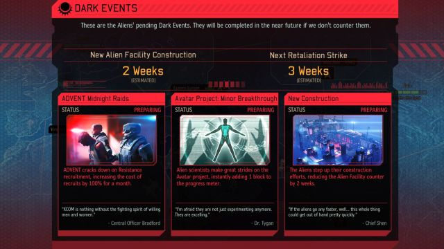 A list of upcoming events can be checked by clicking on the text below the AVATAR Project progress bar. - Dark Events - Game mechanics - XCOM 2 - Game Guide and Walkthrough