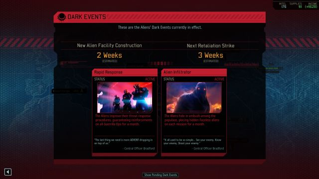 A list of active Dark Events can be checked by clicking on them on the left side of the screen, just below the objectives. - Dark Events - Game mechanics - XCOM 2 - Game Guide and Walkthrough