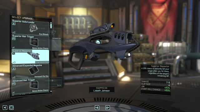 The screen representing the process of upgrading weapons. - Weapon upgrades | Soldier equipment - Soldier equipment - XCOM 2 Game Guide