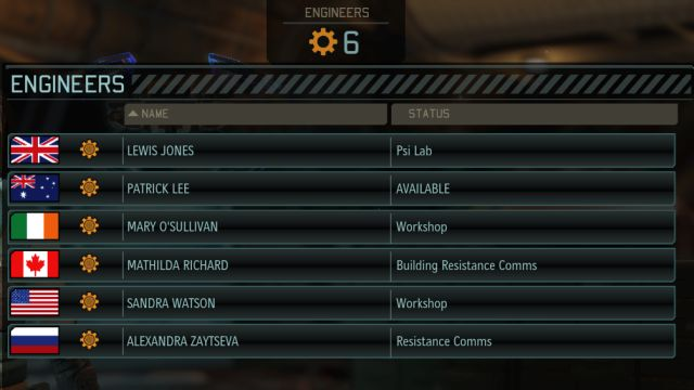 The screen showing what your engineers are doing and how many of them you have at your disposal. - Staff - Engineers and Scientists - XCOM 2 - Game Guide and Walkthrough