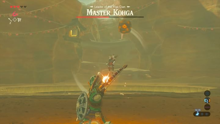 Shoot the enemy when the objects he conjured are above him. - Master Kogha | Bossfights - Bossfights - The Legend of Zelda: Breath of the Wild Game Guide