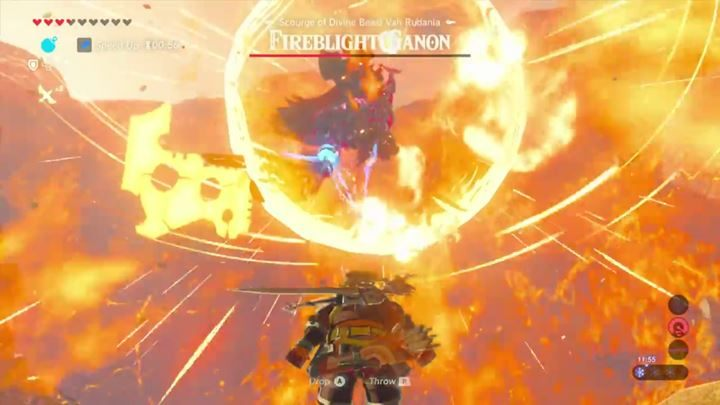 Throw a bomb at your enemy when hes charging his attack to stun him. - Fireblight Ganon | Bossfights - Bossfights - The Legend of Zelda: Breath of the Wild Game Guide
